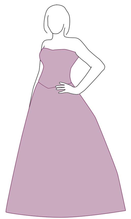 Brautkleid mit A-Linie - Zeichnung