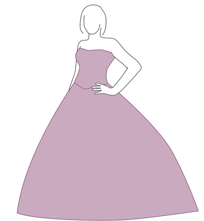 Brautkleid mit Ball-Silhouette - Zeichnung