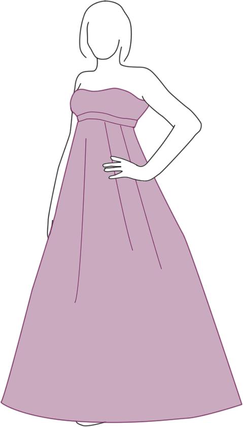 Brautkleid Empire Silhouette - Zeichnung