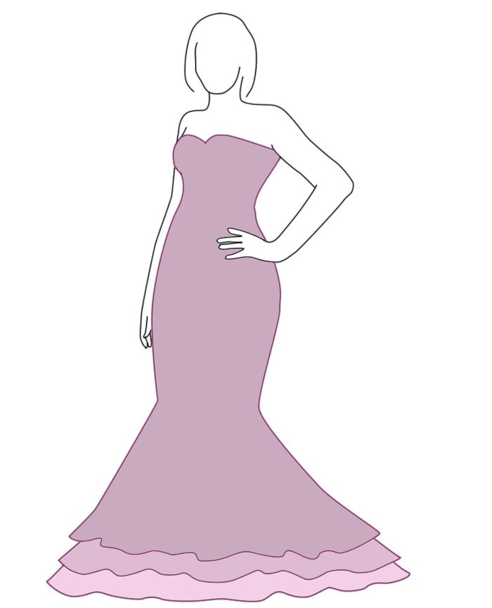 Brautkleid mit Meerjungfrau-Silhouette - Zeichnung