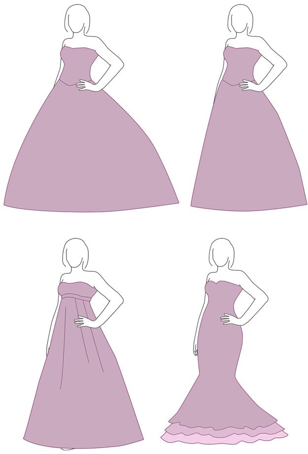 Brautkleider-Silhouetten Übersicht