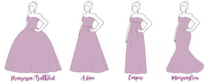 Brautkleider Silhouetten Übersicht Zeichnung