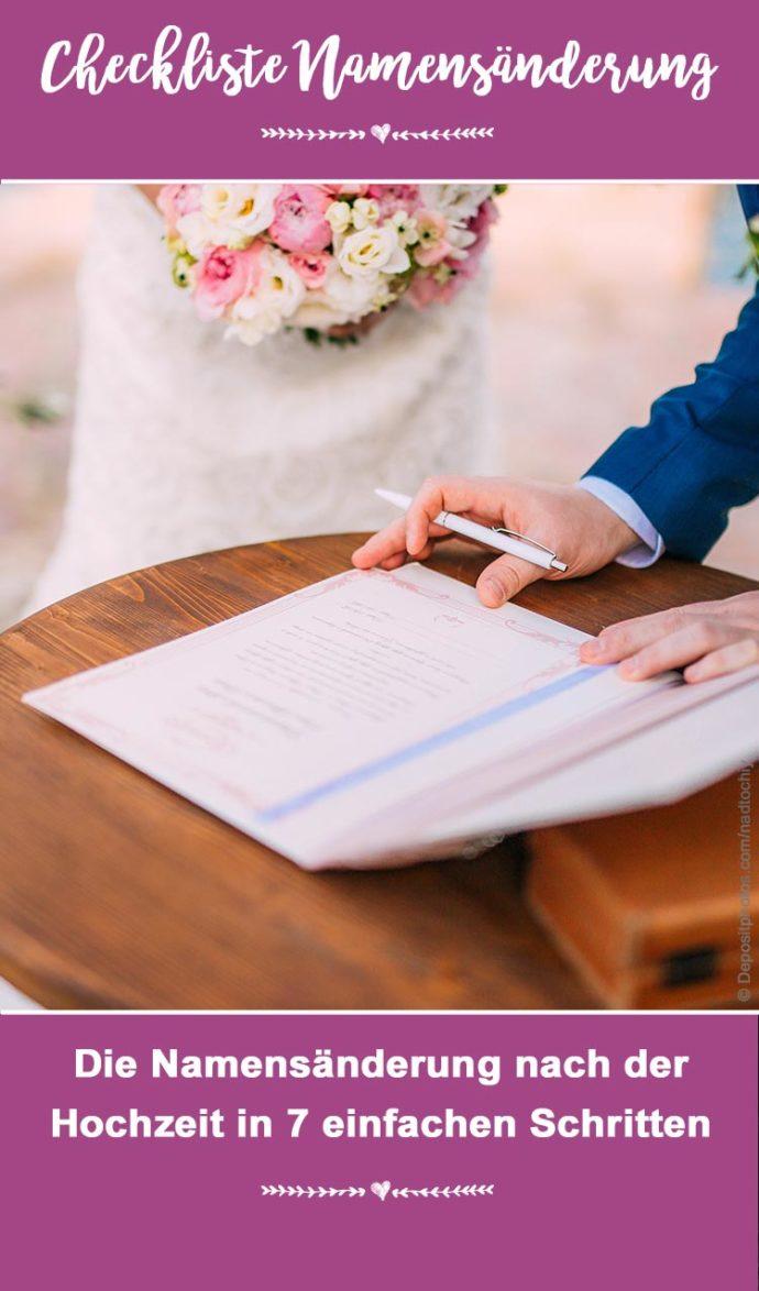 Checkliste Namensänderung nach der Hochzeit